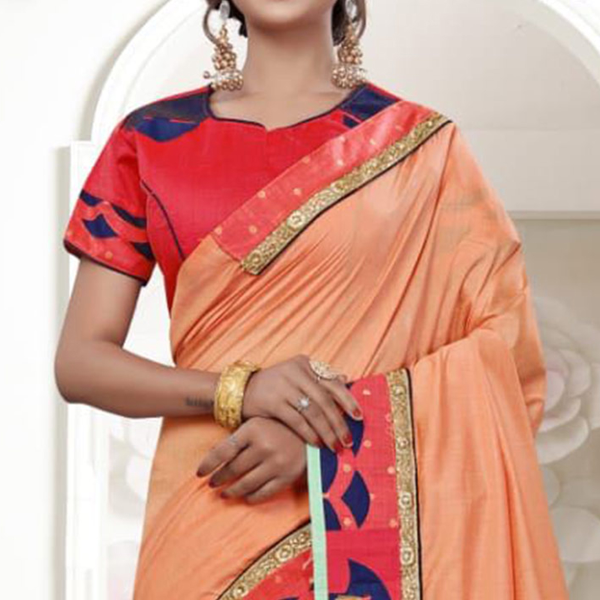 Imposing Peach Colored Party Wear Embroidered Silk Saree