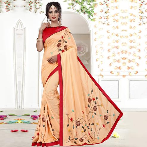 Ideal Light Peach Colored Party Wear Embroidered Georgette Saree