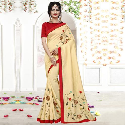Fantastic Cream Colored Party Wear Embroidered Georgette Saree