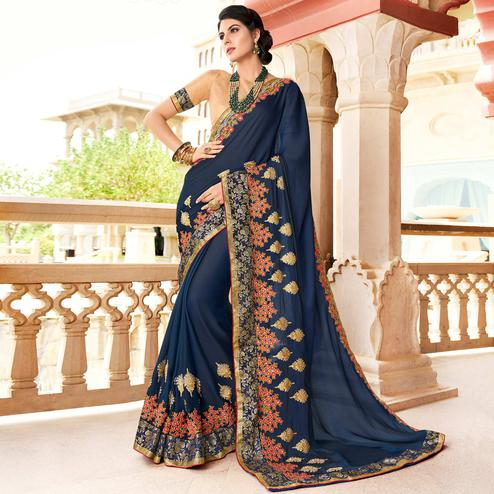 Sophisticated Dark Blue Colored Partywear Embroidered Chiffon Saree