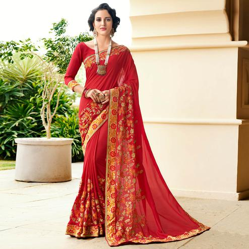 Arresting Red Colored Partywear Embroidered Georgette Saree