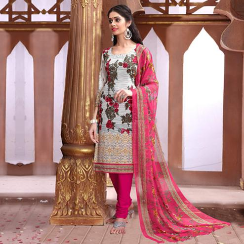 Off White - Pink Printed Salwar Suit