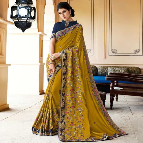 Appealing Green Colored Partywear Embroidered Silk Saree