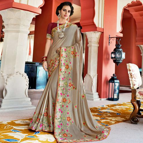 Stylish Gray Colored Partywear Embroidered Silk Saree