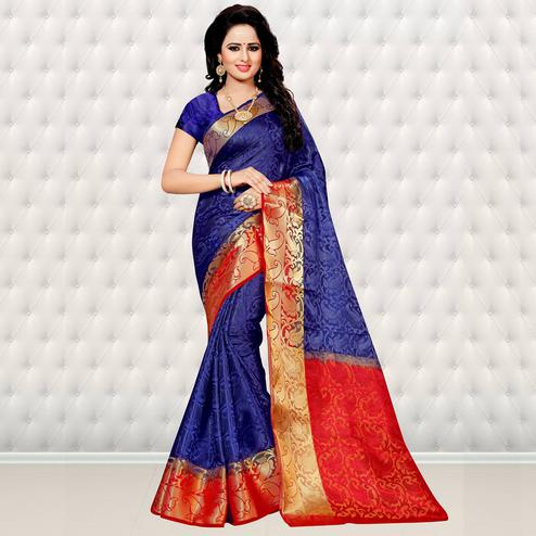 Elegant Royal Blue Colored Festive Wear Woven Banarasi Art Silk Saree