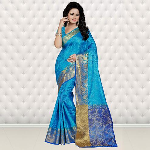 Alluring Sky Blue Colored Festive Wear Woven Banarasi Art Silk Saree