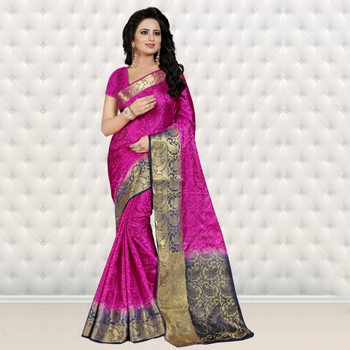 Sensational Dark Pink Colored Festive Wear Woven Banarasi Art Silk Saree