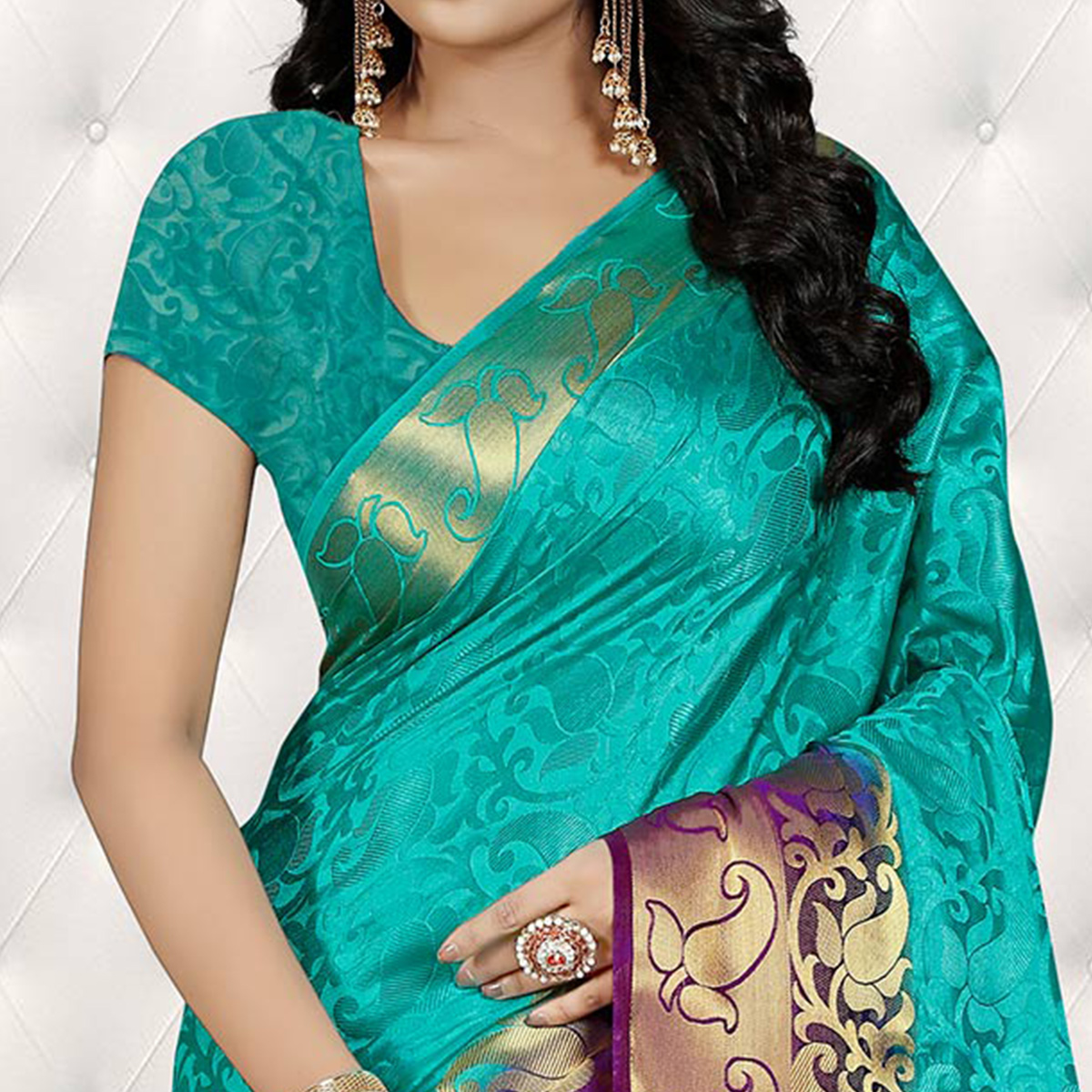 Dazzling Turquoise Blue Colored Festive Wear Woven Banarasi Art Silk Saree