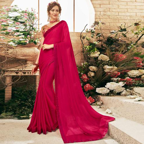 Sophisticated Dark Pink Colored Partywear Chiffon Saree