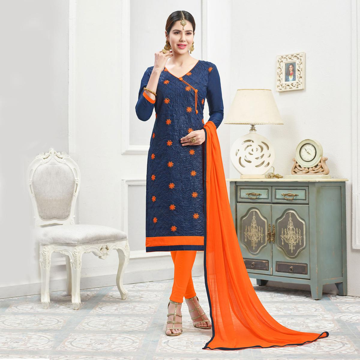 Elegant Navy Blue - Orange Floral Thread Embroidered Cotton Dress Material