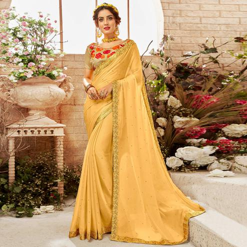 Appealing Beige Yellow Colored Partywear Chiffon Saree