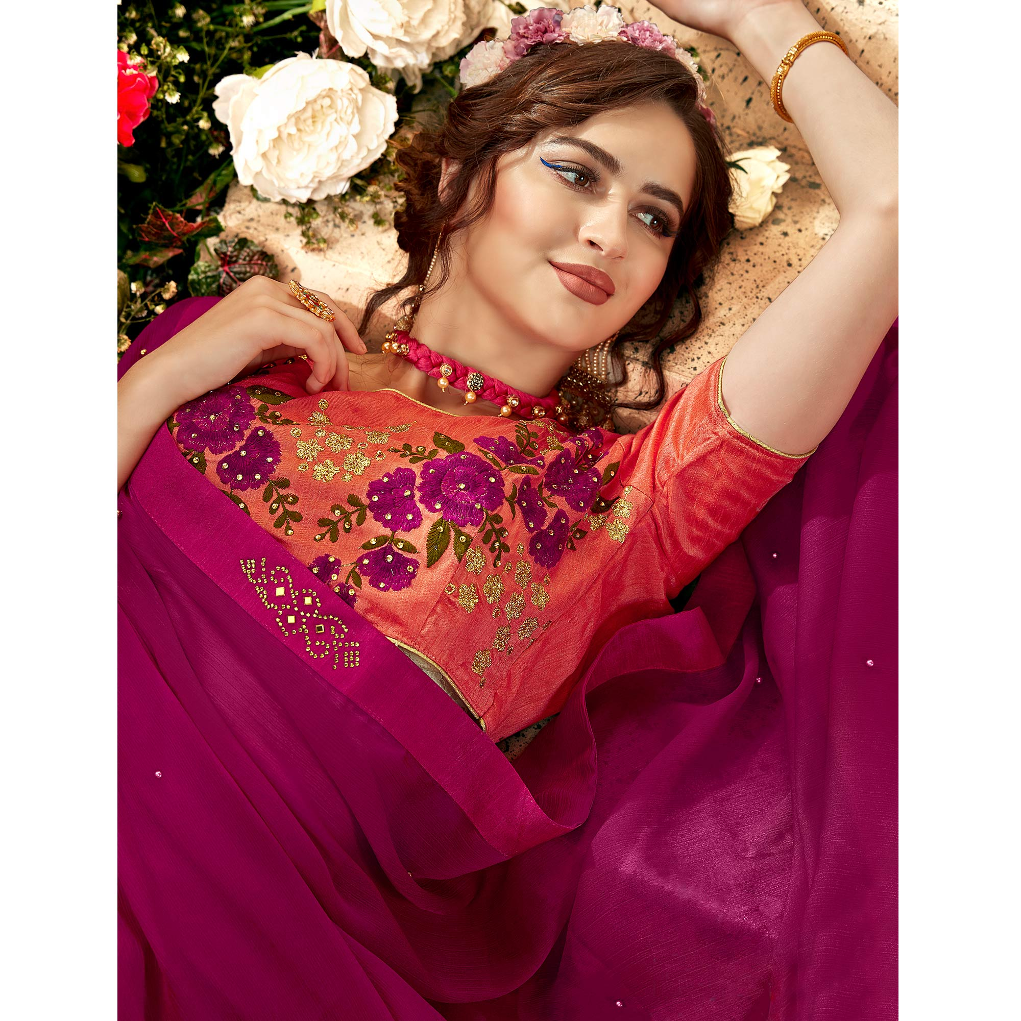Eye-Catching Magenta Pink Colored Partywear Chiffon Saree