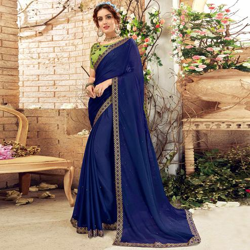 Mesmerising Dark Blue Colored Partywear Chiffon Saree