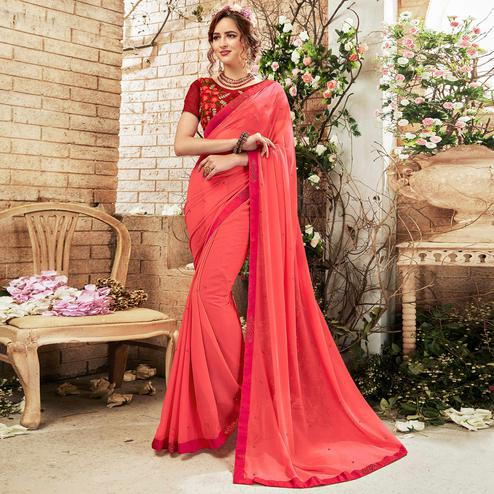 Hypnotic Rose Pink Colored Partywear Chiffon Saree