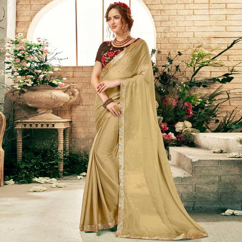 Gleaming Beige Colored Partywear Chiffon Saree