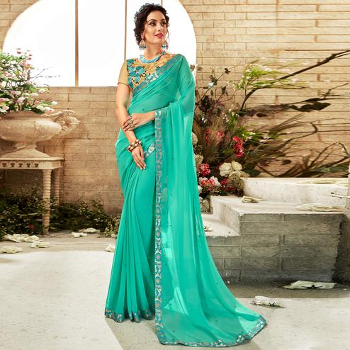 Glowing Aqua Blue Colored Partywear Chiffon Saree