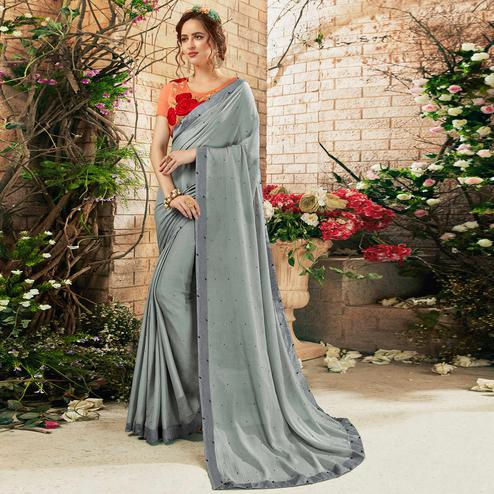 Trendy Gray Colored Partywear Chiffon Saree