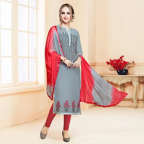 Eye-Catching Gray Colored Partywear Embroidered Cotton Suit