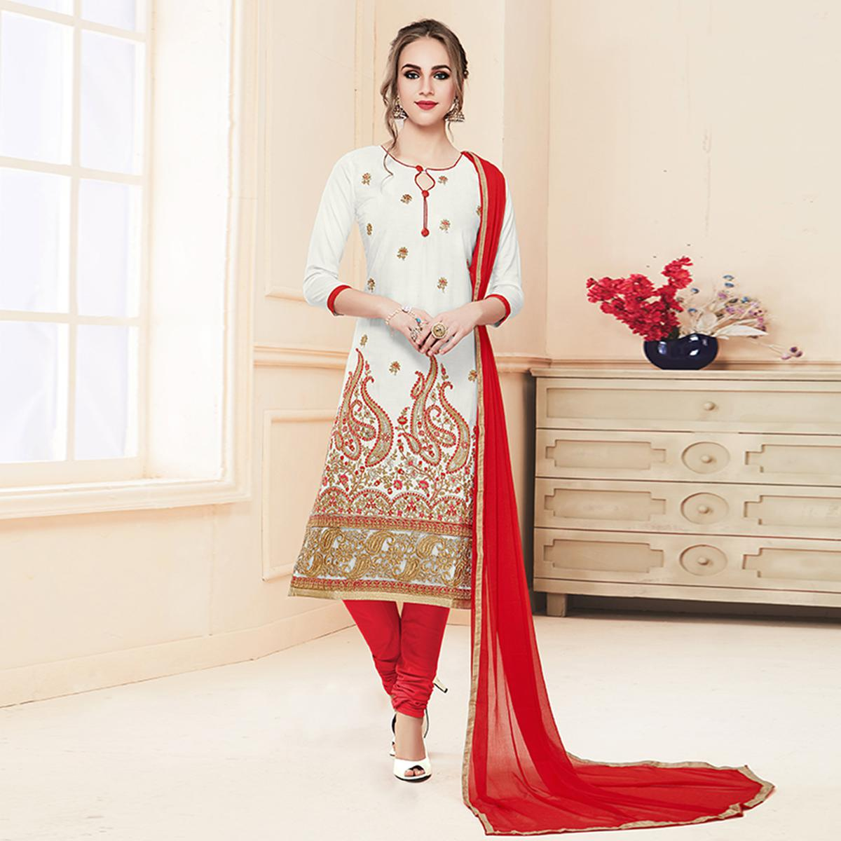 Appealing White Colored Partywear Embroidered Cotton Suit