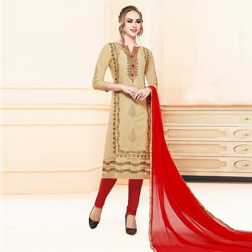 Beautiful Beige Colored Partywear Embroidered Cotton Suit
