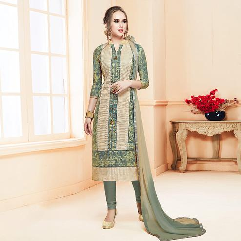 Attractive Gray-Cream Colored Partywear Cotton Suit