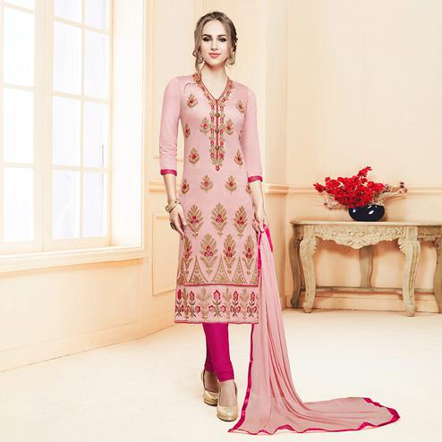Gorgeous Light Pink Colored Partywear Embroidered Cotton Suit