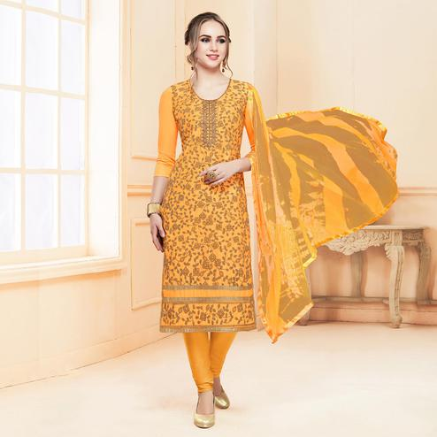 Traditional Yellow Colored Partywear Embroidered Cotton Suit