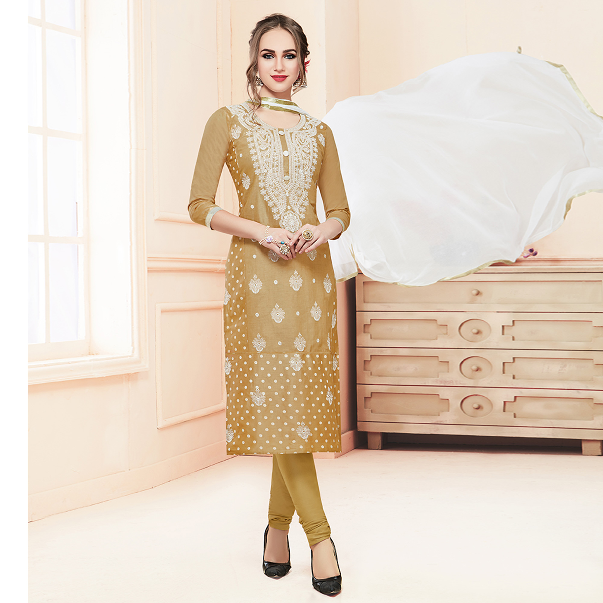 Desiring Beige Colored Partywear Embroidered Cotton Suit