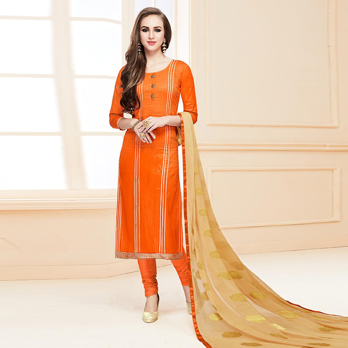 Lovely Orange Colored Partywear Cotton Suit