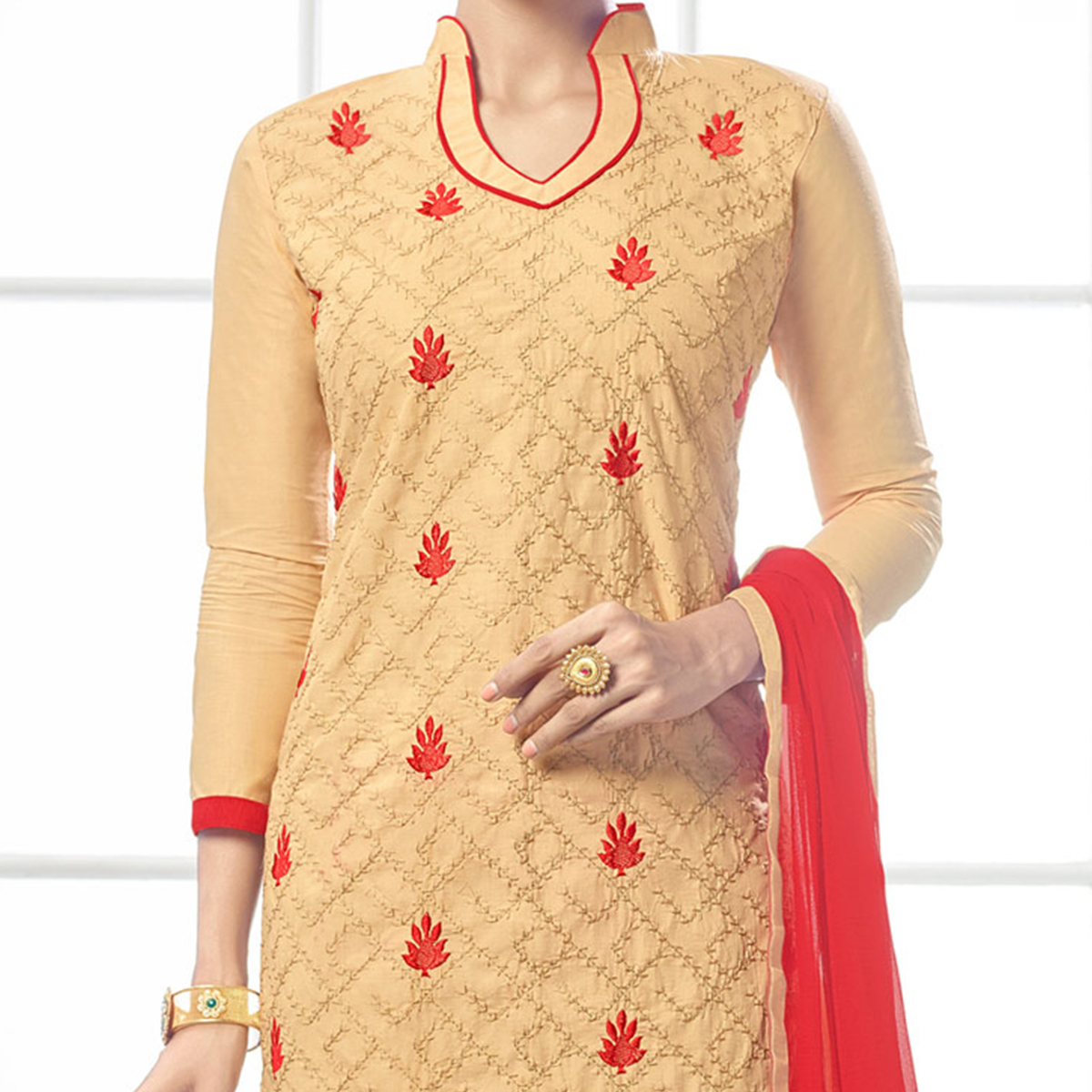 Charming Beige - Red Floral Embroidered Cotton Dress Material