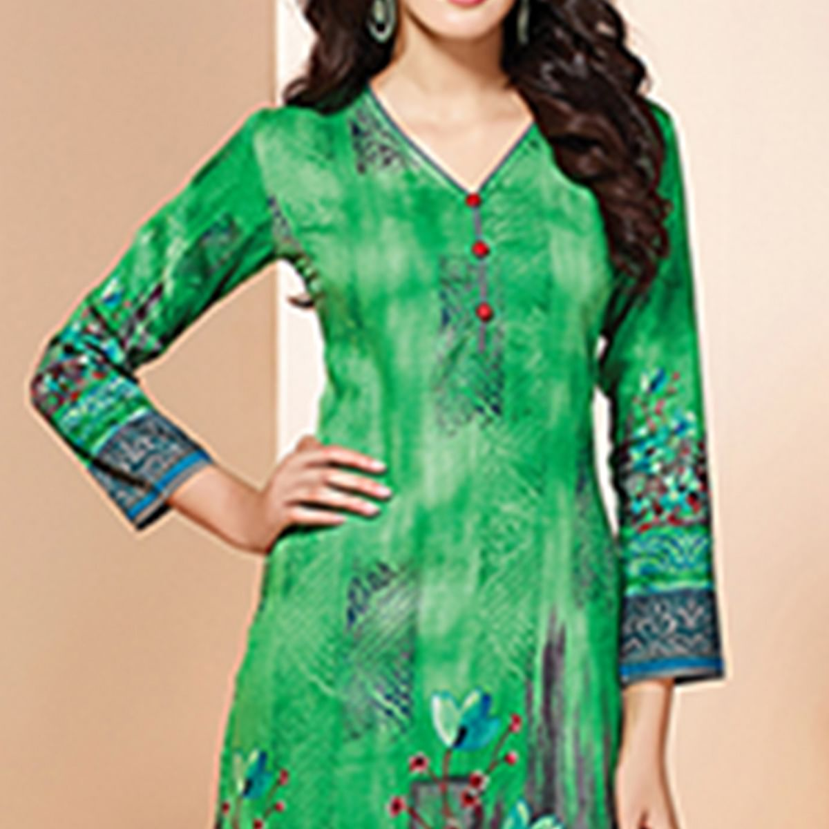 Adorable Green Colored Casual Wear Printed Cotton Kurti
