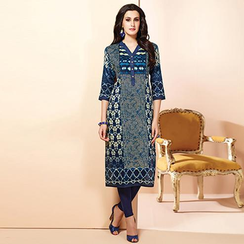 Beautiful Navy Blue Colored Casual Wear Printed Cotton Kurti