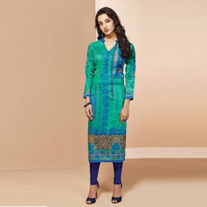 Gorgeous Green Colored Casual Wear Printed Cotton Kurti