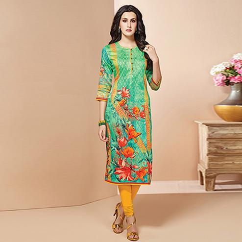 Classy Light Green Colored Casual Wear Printed Cotton Kurti