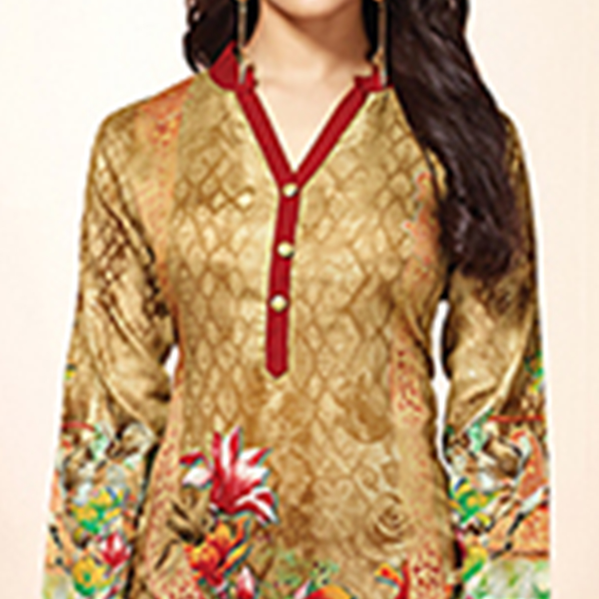 Charming Beige Colored Casual Wear Printed Cotton Kurti