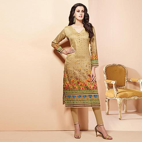Ravishing Beige Colored Casual Wear Printed Cotton Kurti
