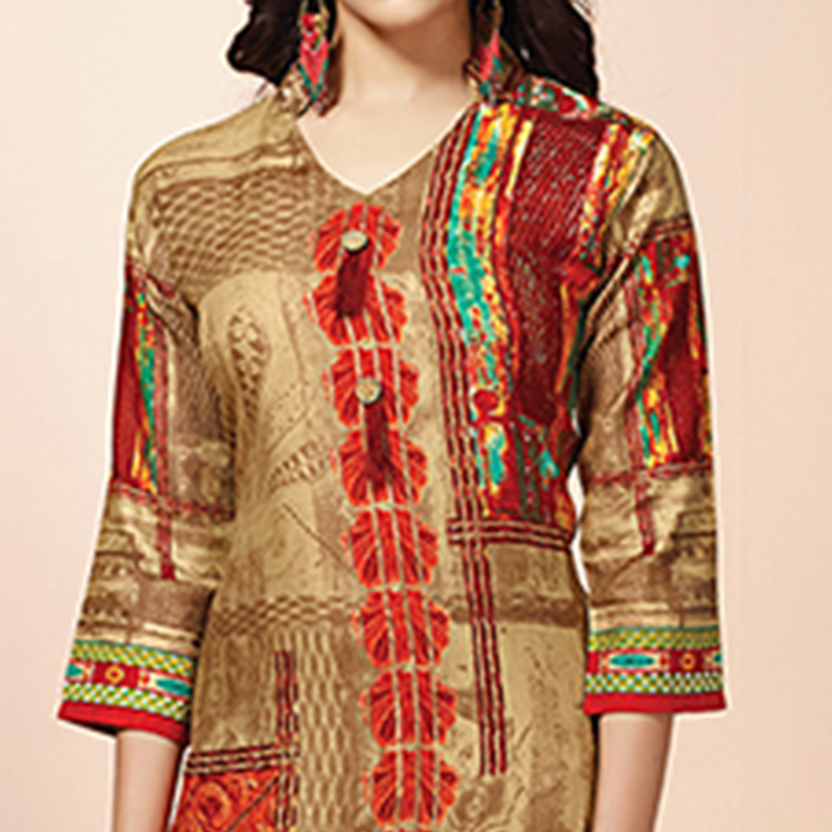 Delightful Beige Colored Casual Wear Printed Cotton Kurti