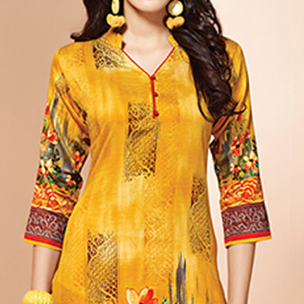 Stunning Yellow Colored Casual Wear Printed Cotton Kurti