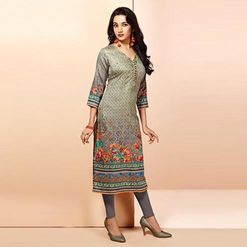 Blooming Grey Colored Casual Wear Printed Cotton Kurti