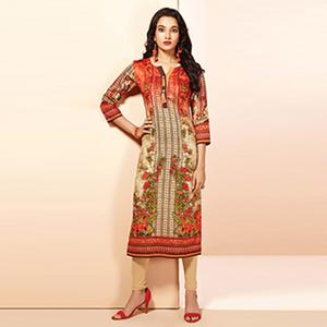 Marvellous Beige & Rust Colored Casual Wear Printed Cotton Kurti