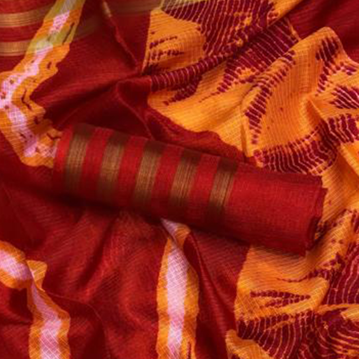 Marvellous Maroon - Orange Colored Casual Printed Kota Silk Saree