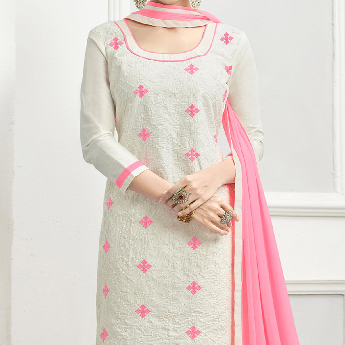 Adorable White - Baby Pink Embroidered Cotton Dress Material