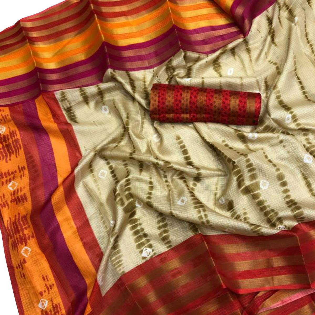 Majesty Beige Colored Casual Printed Kota Silk Saree