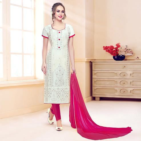 Pleasant White Colored Partywear Embroidered Cotton Dress Material