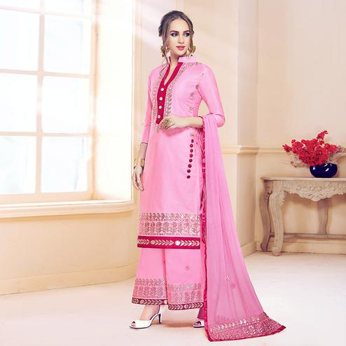 Appealing Pink Colored Partywear Embroidered Cotton Dress Material