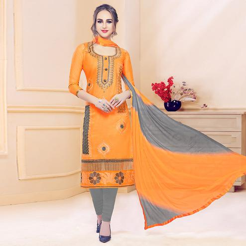 Classy Orange Colored Partywear Embroidered Cotton Dress Material
