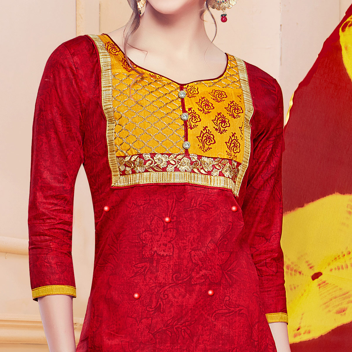 Gleaming Red Colored Partywear Embroidered Cotton Dress Material