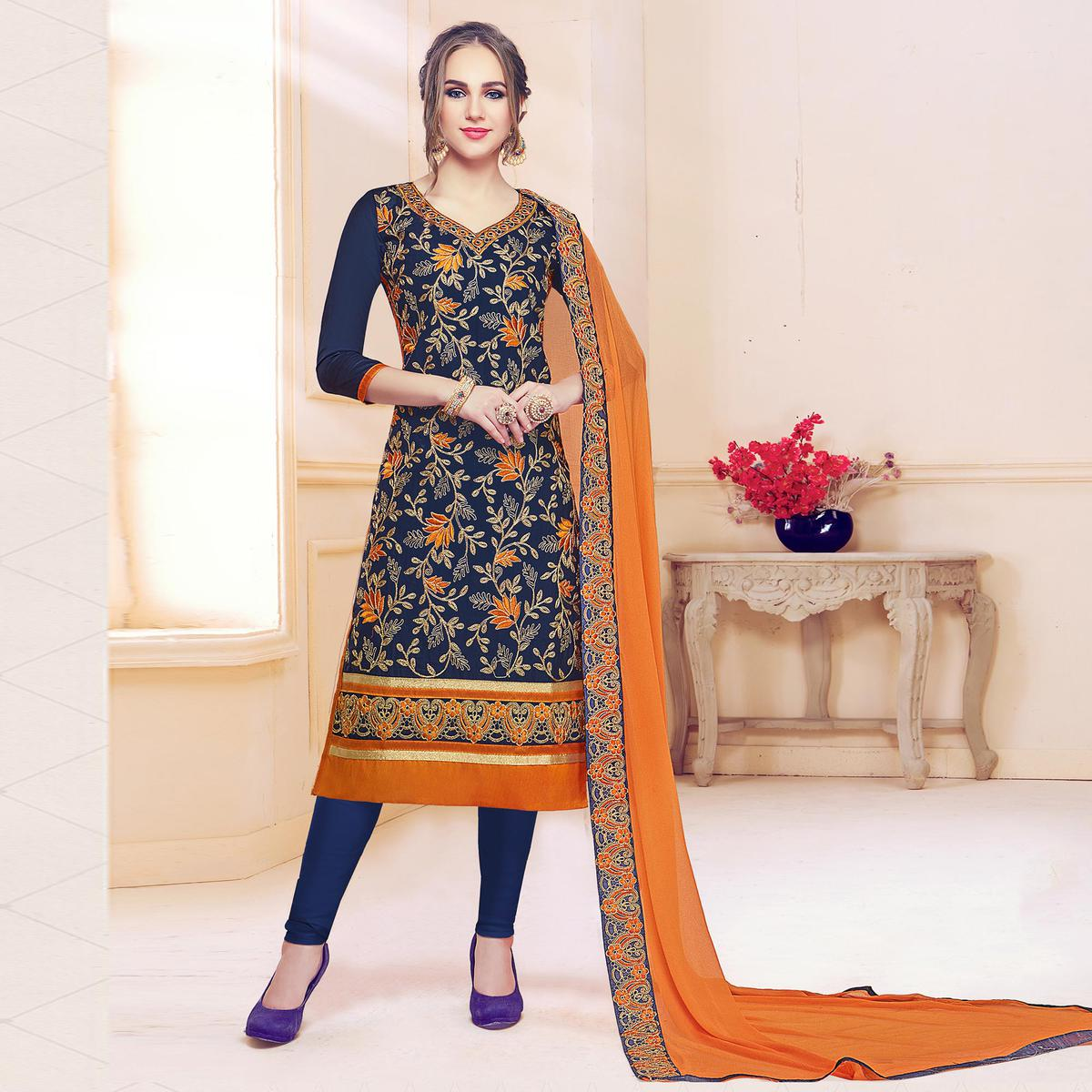 Mesmeric Navy Blue Colored Partywear Embroidered Cotton Dress Material