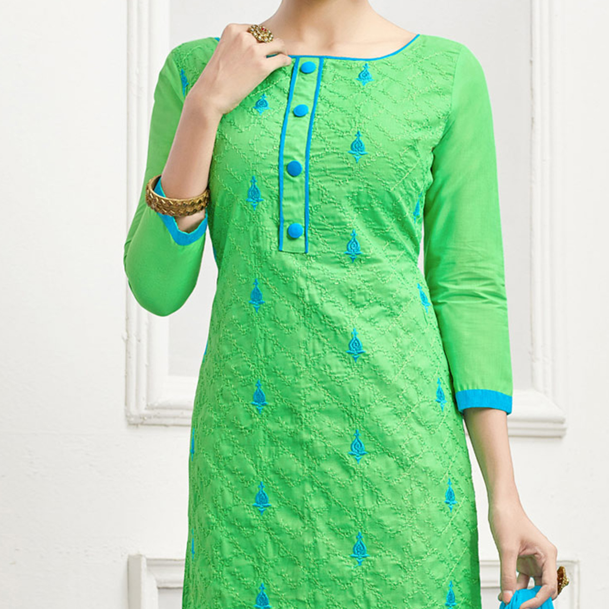 Graceful Green - Turquoise Blue Embroidered Cotton Dress Material