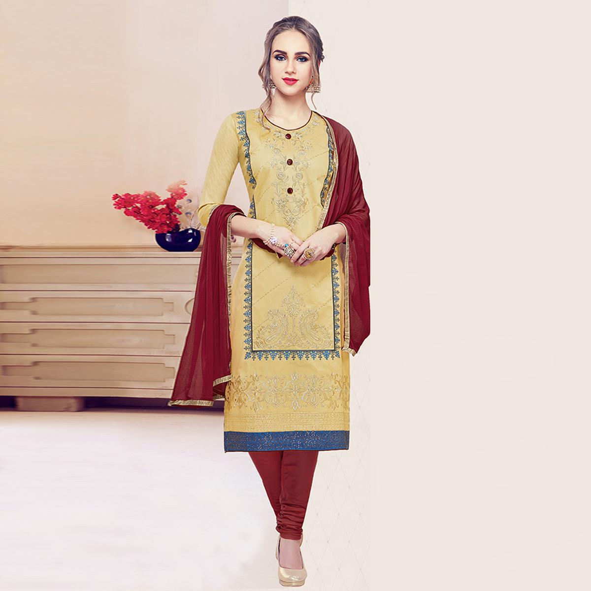 Lovely Beige Colored Partywear Embroidered Cotton Dress Material